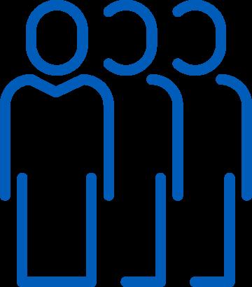 Logo minimalista con tres figuras de personas. Solo el contorno.